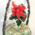 Click to view larger image of Poinsettia Victorian Wire Wrapped Glass Christmas Ornament (Image3)