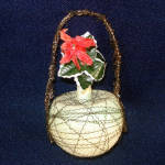 Click to view larger image of Poinsettia Victorian Wire Wrapped Glass Christmas Ornament (Image4)