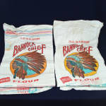 Click here to enlarge image and see more about item 11064-5: 2 Bannock Chief Pocatello Flour Sacks, Indian Head Graphics