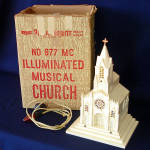 Click here to enlarge image and see more about item 11064-6: Paramount Raylite 1950s Musical Lighted Christmas Church In Box