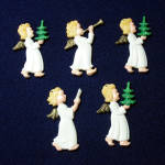 Click here to enlarge image and see more about item 11070-3: German Painted Plastic Barefoot Angels Christmas Ornaments Set 5