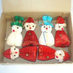 Click to view larger image of Box 50s Honeycomb Tissue Santa Snowman Christmas Ornaments (Image2)