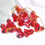 Click here to enlarge image and see more about item 11103: 1950s Red Plastic Bell Ornaments Christmas Garland