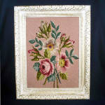 Click here to enlarge image and see more about item 11146: Floral Bouquet in Pinks Framed Needlepoint Picture 16 by 20