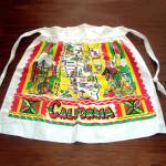 Click here to enlarge image and see more about item 11152: Cactus Cloth Colorful California State Souvenir Apron With Map
