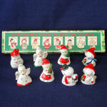 Click here to enlarge image and see more about item 11159-3: Box Commodore Porcelain Christmas Character Place Card Holders
