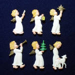 Click here to enlarge image and see more about item 11217-2: Germany Painted Plastic Barefoot Angels Christmas Ornaments Set 6
