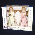Click here to enlarge image and see more about item 11228-2: 1960s Hard Plastic Christmas Angel Figure Ornaments in Box