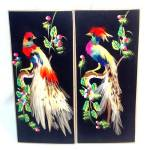 Pair Exotic Birds Mexican Folk Feather Art Pictures