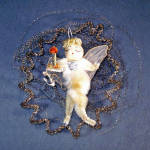 Click here to enlarge image and see more about item 11253: Chenille Wired Tulle Wings Angel in Wire Wreath Christmas Ornament
