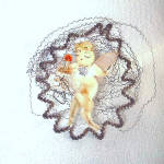 Click to view larger image of Chenille Wired Tulle Wings Angel in Wire Wreath Christmas Ornament (Image2)