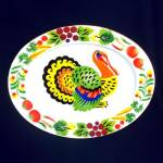 Click here to enlarge image and see more about item 11271: Colorful Mid Century Enamelware Turkey Platter