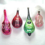 Lutes, Guitars, Mandolin Glass Christmas Ornaments