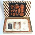 Click here to enlarge image and see more about item 11273: Copper and Glass Relish Serving Tray In Original Box