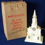Click here to enlarge image and see more about item 11323-3: Paramount Raylite 1950s Musical Lighted Christmas Church In Box