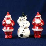 Click here to enlarge image and see more about item 11325-3: 1950s Hard Plastic Santa Claus Snowman Christmas Ornaments