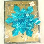 Click here to enlarge image and see more about item 11386: Mr Christmas Blue Foil Glass Corsage or Ornament Mint in Package