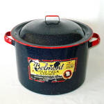 Click here to enlarge image and see more about item 11409-2: Belmont 1940s Enamel Graniteware Canning Kettle