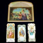 Click here to enlarge image and see more about item 11471-3: Religious Litho Calendar Top and Embossed Holy Cards