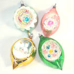 4 West Germany Pastels Indent Glass Christmas Ornaments
