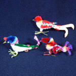 Click here to enlarge image and see more about item 11500-2: 3 Chenille Birds Christmas Ornaments