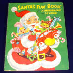 1954 Child's Christmas Pop Up Santa's Fun Book With 3-D Glasses
