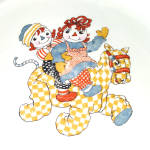 Click to view larger image of Crooksville 1941 Raggedy Ann Andy Child's Feeding Dish Set (Image3)