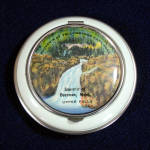 Click here to enlarge image and see more about item 11554-4: 1930s Enameled Pictorial Yellowstone Souvenir Powder Compact