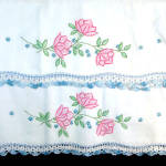 Click to view larger image of Pink Flowers Pair Embroidered Pillowcases with Crochet Lace Edging (Image2)