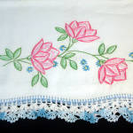 Click to view larger image of Pink Flowers Pair Embroidered Pillowcases with Crochet Lace Edging (Image3)