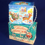 Click here to enlarge image and see more about item 11585: 1940s Mattel Creations Christmas Crank Music Box in Original Box