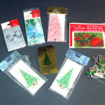 Click here to enlarge image and see more about item 11586: 6 Packages Christmas Tree Themed 1960s Gift Tags