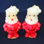 Click here to enlarge image and see more about item 11587-2A: 2 Vintage Gurley Santa Claus Figural Candles