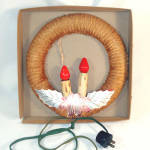 1940s Polly Christmas Double Candle Lighted Chenille Wreath