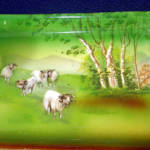 Click to view larger image of Royal Bayreuth Highland Sheep Hat Pin Holder Attached Dresser Tray (Image4)