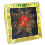 Western Germany Boxed Gold and Red Tinsel Christmas Tree Topper