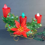 1960s Electric 3-Light Christmas Candelabra In Wire Sleigh
