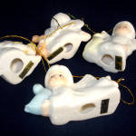 Click to view larger image of 4 Bone China Angels Christmas Ornaments (Image2)