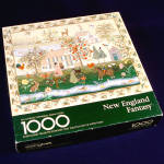 Click here to enlarge image and see more about item 11673: New England Fantasy Springbok 1000 Piece Jigsaw Puzzle Embroidered Sampler