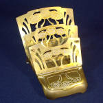 Click here to enlarge image and see more about item 11678: German Jugendstil Arts Nouveau Brass Inkwell Letter Holder