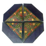 Click to view larger image of Arts and Crafts Set Tooled Painted Leather Blotter Corners (Image1)