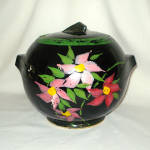 Click to view larger image of McCoy Pottery Deco Ball Cookie Jar Hand Painted Pink Flowers (Image1)