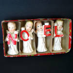 Click here to enlarge image and see more about item 11695-3: Commodore Noel Christmas Angels 1950s Candle Holders Boxed Set