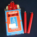 Click here to enlarge image and see more about item 11697: Box 4 Inch Holland Red Christmas Candles For Angel Chimes