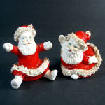 Ceramic Spaghetti Santa Christmas Salt and Pepper Shakers
