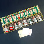 Click here to enlarge image and see more about item 11700: Box Commodore Porcelain Christmas Character Place Card Holders