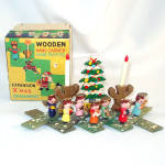 Boxed 1950s Wooden Christmas Expansion Display Angels, Tree Candles