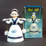Click to view larger image of Artmark Porcelain Bisque Dutch Girl Bell Mint in Box (Image1)