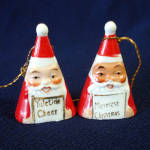 Click here to enlarge image and see more about item 11744-3: Ardalt Mini Triangle Shape 1950s Santa Bell Christmas Ornaments