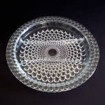 Click here to enlarge image and see more about item 11760-2: Crystal Bubble or Thousand Eye 3 Part Glass Relish Dish